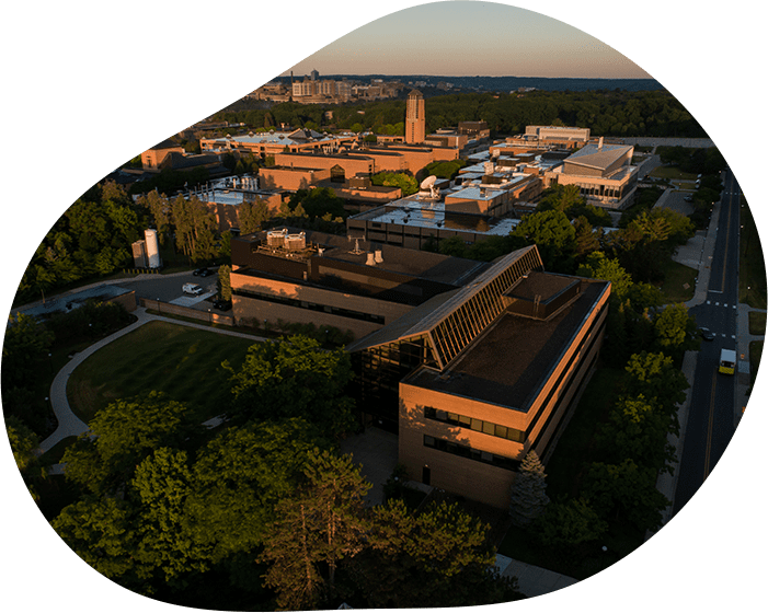 An aerial photo of the University of Michigan's North Campus