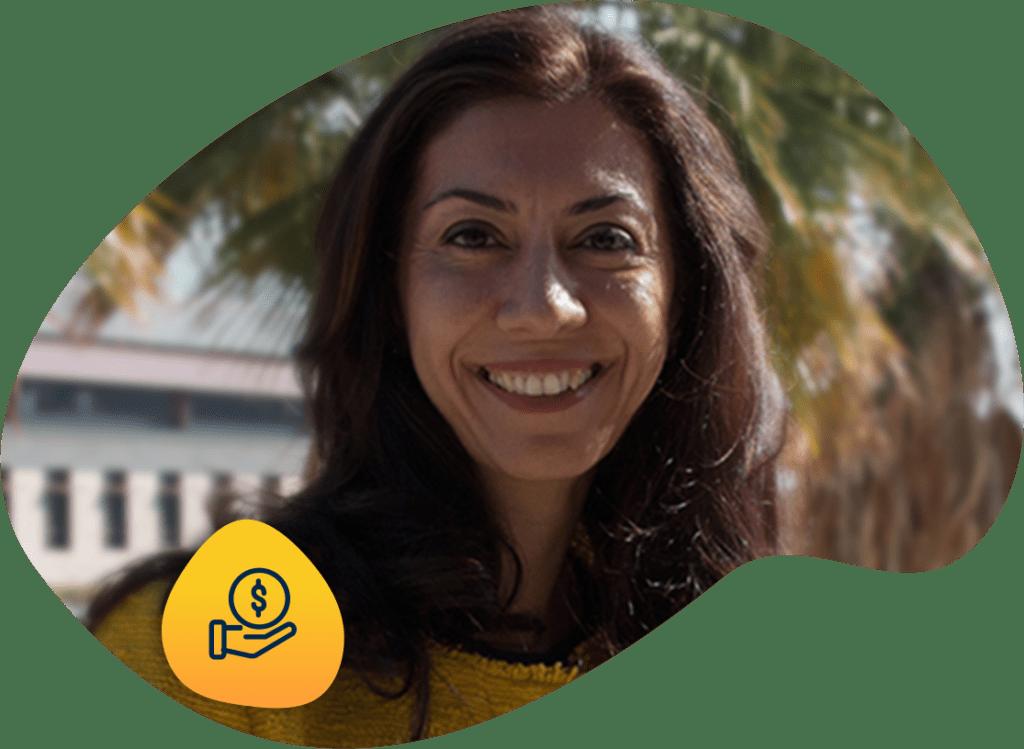 Portrait of Newsha K. Ajami with smart infrastructure finance icon